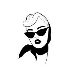 fashion monochrome design sketch woman in style vector image
