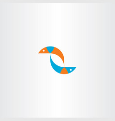 fish blue orange logo sign vector image