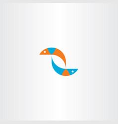 fish blue orange logo sign vector image vector image