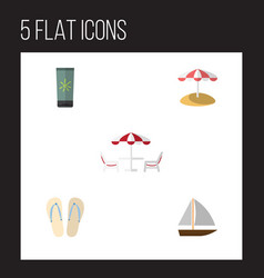 Flat icon beach set of recliner yacht beach vector