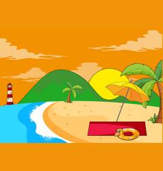 flat summer beach landscape vector image