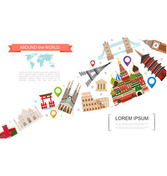 flat world travel template vector image