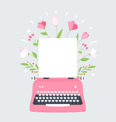 flowers styles typewriter with blank sheet of vector image