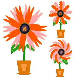 Flowers with icons vector image