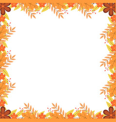 Frame colorful autumn leaves flowers and vector