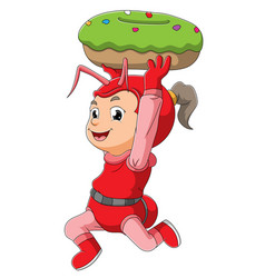 Girl with the ant costume is stealing the doughnut vector