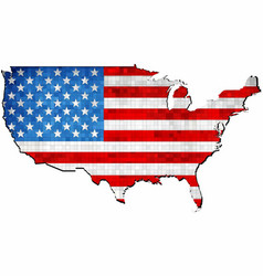 grunge usa map with flag inside vector image
