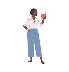 Happy modern young african woman reading book vector