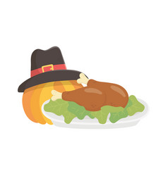 happy thanksgiving day baked turkey pumpkin vector image