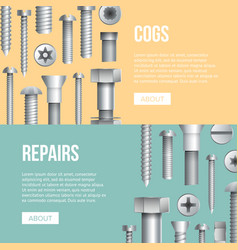 Hardware store advertising flyers with bolts vector