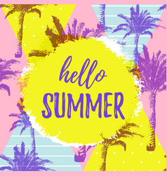 hello summer greeting banner tropical hand drawn vector image