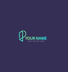 initial letter p door portal logo vector image