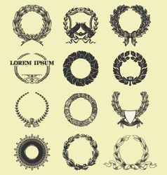 laurel and wreath set elements vector image