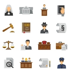Law Icons Flat Set vector