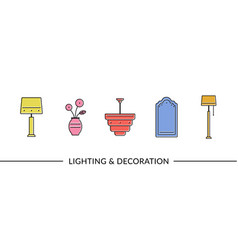Lighting and decoration furniture line icons vector