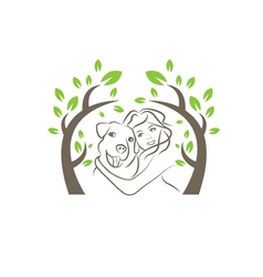 Line drawing of the dog and women under the tree vector
