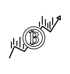 Line financial arrow up to bitcoin currency vector