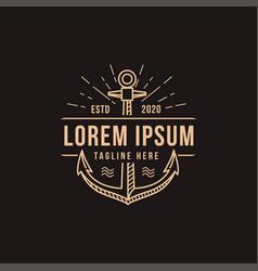 modern vintage retro lineart anchor logo template vector image
