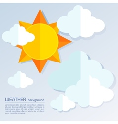 Modern weather background with sun and clouds vector image