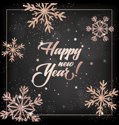 New year 2019 card with rose gold christmas balls vector