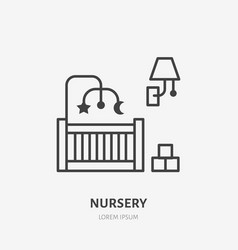 Nursery bedroom flat line icon apartment vector