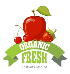 Organic fresh fruits logo label badge vector image