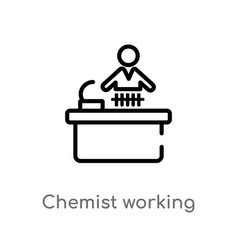 Outline chemist working icon isolated black vector