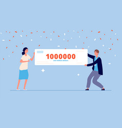 People holding money prize lottery winner vector
