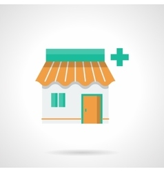Pharmacy facade flat color icon vector