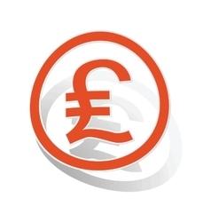 Pound sterling sign sticker orange vector