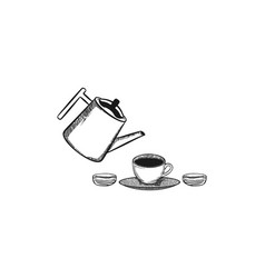pouring coffee into coffee cup logo design vector image