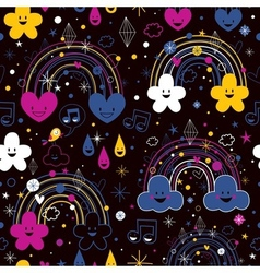 Rainbows night cartoon pattern vector
