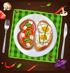 Sandwiches on plate rustic vector