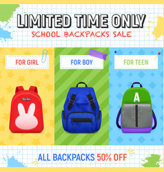 school backpacks sale background vector image