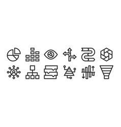 Set 12 thin outline icons such as funnel vector