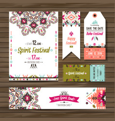 Set of geometric boho colorful flyers vector