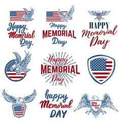Set of happy memorial day labels design elements vector