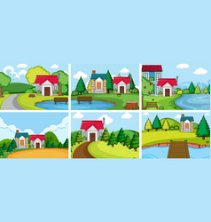 Set rural village house vector