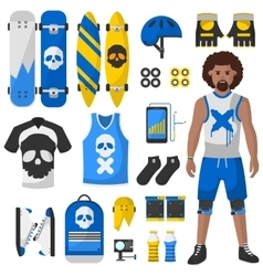 Skateboard equipment set vector