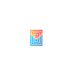 square line maze geometry logo vector image
