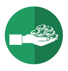 St patricks day hand holding coins shadow vector