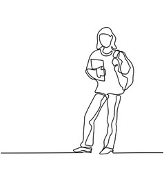 Standing girl student with book and bag vector