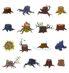 Stumps icons set cartoon style vector