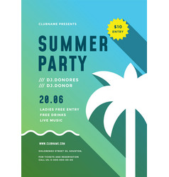 summer beach party flyer or poster template modern vector image