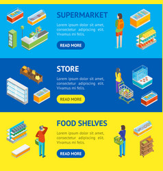 supermarket or shop banner horizontal set vector image