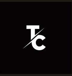Tc logo letter monogram slash with modern logo vector