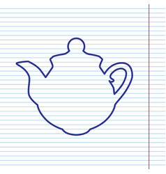 Tea maker sign navy line icon on notebook vector