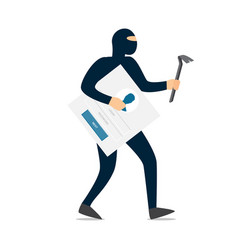 thief hacker in mask stealing passwords vector image