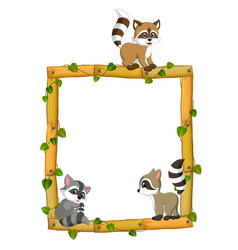 three raccoon on the wood frame with root and leaf vector image