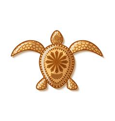 Turtle icon with traditional hawaiian vector